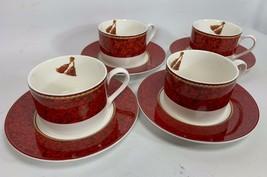 8 PC Hallmark Home Collection Holiday Abundance Sakura Red Mug Cup & Sau... - $22.56