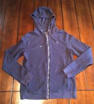 Zara Man Basic XL Navy Blue Thermal Zip Up Jacket With Hood - $19.99