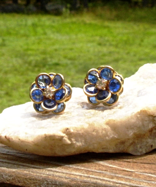Vintage Avon Blue Crystal Flower Clip Earrings