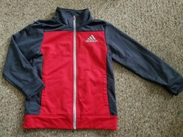 ADIDAS Gray and Red Zip Front Dri Fit Jacket Boys Size 7 - $8.48