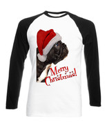 MERRY CHRISTMAS BLACK FRENCH BULLDOG PUPPY - NEW BLACK SLEEVED BASEBALL TSHIRT - $22.04