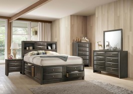Crown Mark B4275 Emily Modern Grey Finish Storage Queen Size Bedroom Set 5 Pcs