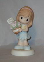 Thanks Friend Precious Moments Figurine Girl Flowers Blue Dress NWOB Fri... - $38.60