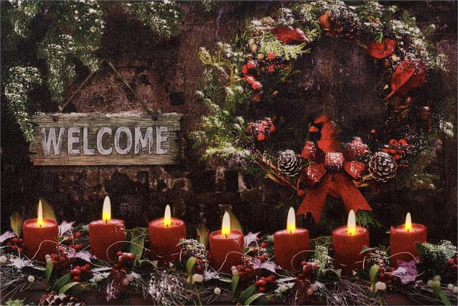 Warm Winter Welcome  greens and candles LED wall canvas w/Timer