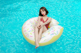 Swim About Large Donut Swim Ring Tube Pool Inflatable Floats for Adults (White) image 5