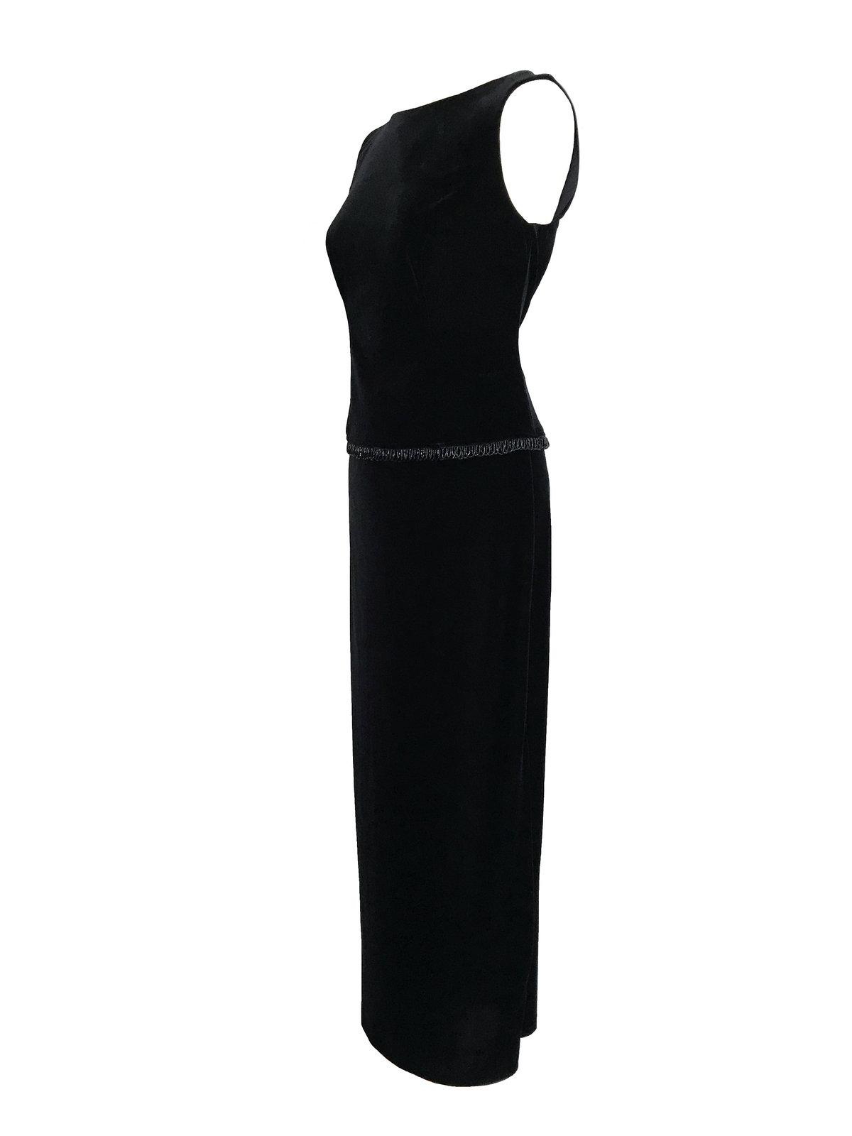 80s Black Velvet Stretch Beaded Boat Neck Sleeveless Evening Formal Maxi LBD Dre image 6