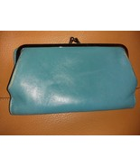 Hobo The Original turquoise leather wallet kisslock closure - $15.00