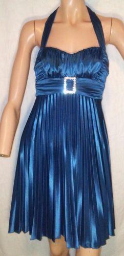 B. Darlin Peacock Blue Halter Dress Size 3/4 Pleated Dance Party Clubwear