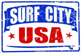 Surf City USA Huntington Beach Surfer Surfing Beaches Aluminum Sign - $17.95