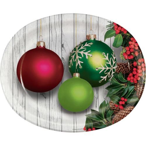 Christmas Ornaments 8 Ct Oval Banquet Platters Paper