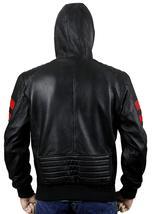 Mens Biker Red Stripes Retro Morotrcyle Hoodie Bomber Black Leather Jacket image 4