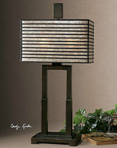 "MODERN URBAN INDUSTRIAL 29"" OIL RUBBED BRONZE METAL TABLE LAMP MICA SHADE  - $257.40"