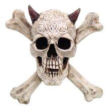 CROSS BONES HORNED DEVIL SKULL STATUE WALL PLAQUE RESIN FIGURINE AWESOME... - £23.12 GBP