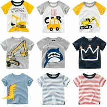 New T-shirt Tops Cartoon Style Letter Animal Printed Baby Boys Girls For... - $10.98+