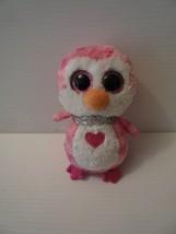 "Ty Beanie Boos Juilet Pink White Penguin 6"" Animal Toy Glitter Eyes 2017 - $5.00"