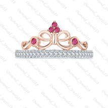 2-Tone 925 Silver Created Ruby & CZ Diamond Princess Crown Ring For Women - $93.99