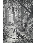 HUNTING Wolves in Forest - 1878 Fine Quality Print - $35.96