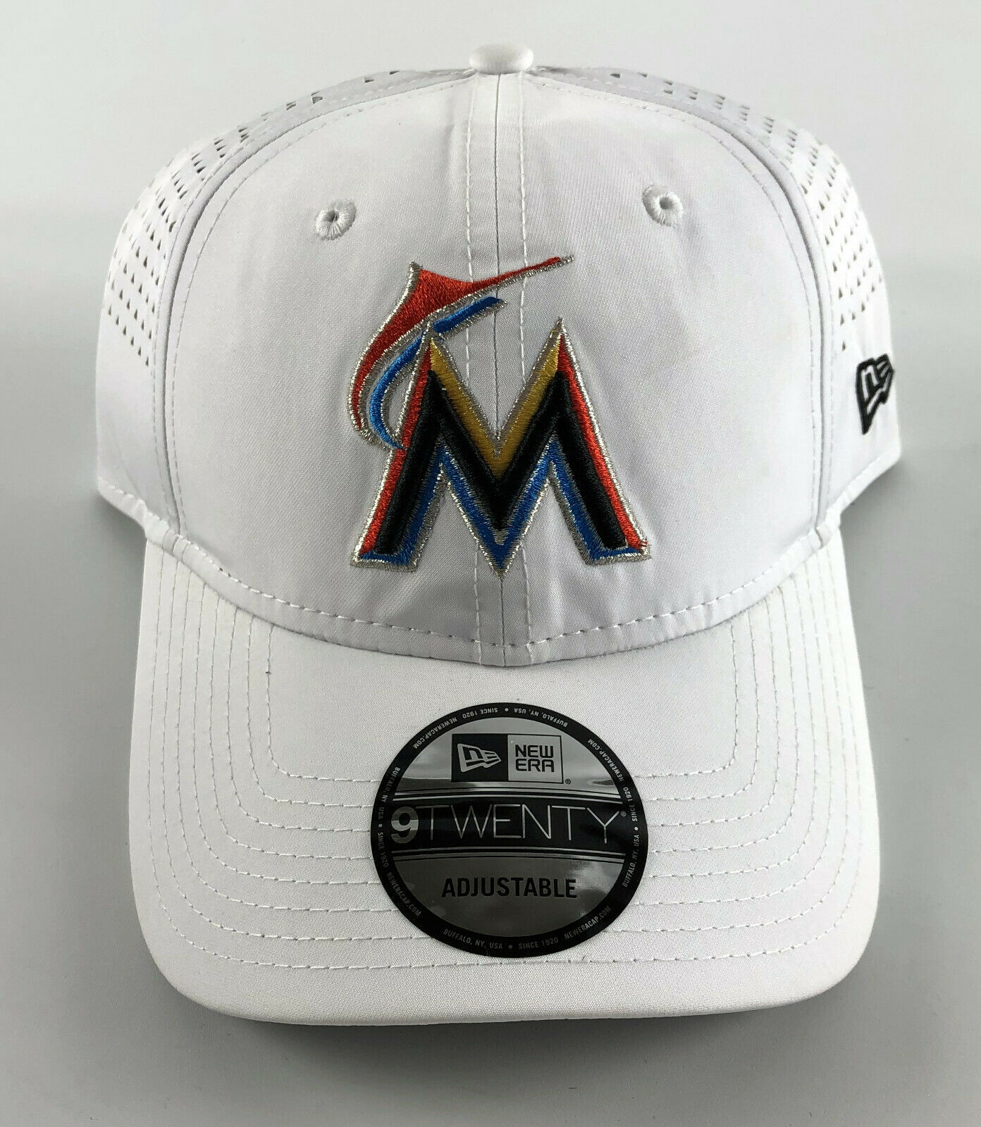 Miami Marlins Strapback Baseball Hat New Era 9Twenty White Ajustable