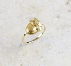 Antique Estate 14K Yellow Gold Cat Kitten Diamond Eye Conversion Ring Si... - $389.95