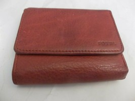 Fossil Red Leather Compact Leather Wallet  - $9.89
