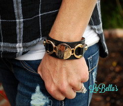 Personalized Leather Monogram Cuff Bracelet-Cuff Leather Bracelet - $28.95