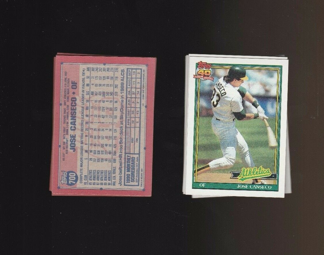 Jose Canseco 1991 Topps Glow Card Back UV Variant Baseball Card #700 Lot of 7