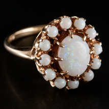 Vintage 1960's 10k Yellow Gold Oval Cabochon Opal Cocktail Ring 1.40ctw ... - $390.00