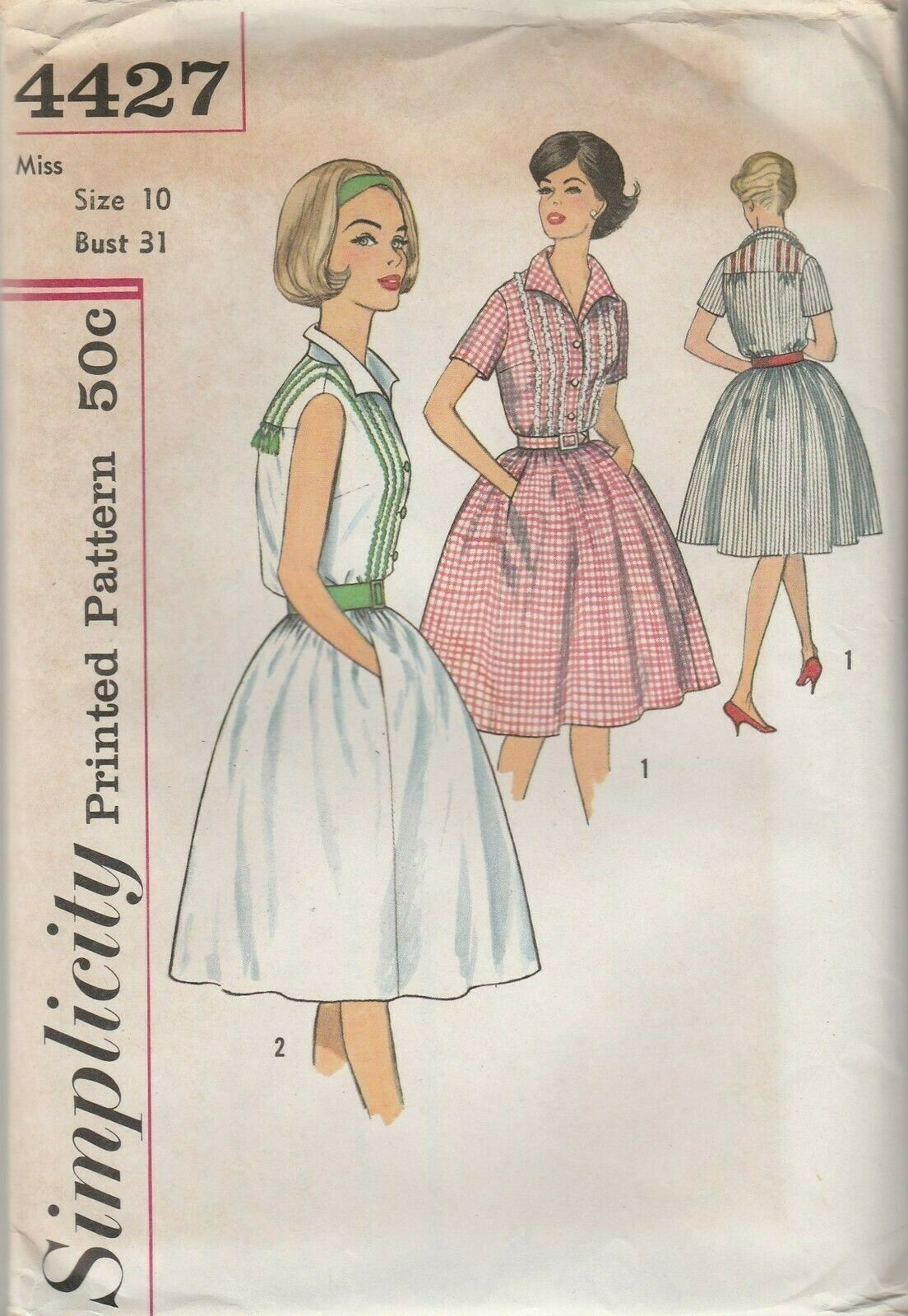 Primary image for Vintage Sewing Pattern Simplicity 4427 Misses One Piece Dress 1960s Size 10