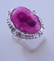 Ring Size 7.5  Solar Druzy Silver Overlay Handmade Ring jewelry F-268 _4 - $1.99