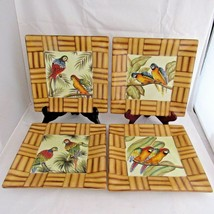 Parrot Bird Square Sandwich Plate Pacific Rim Bamboo Accents Hand Painte... - $59.39