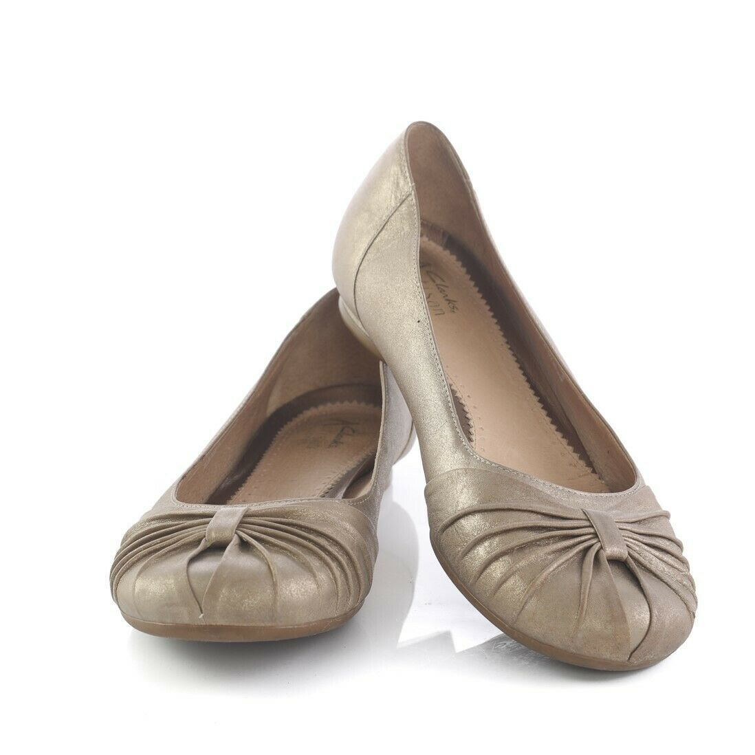 Primary image for Clarks Artisan Gold Leather Ballet Flats Comfort Shoes Womens 9 M SN 74588
