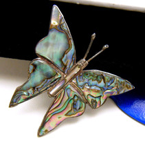 Vintage Mexico Sterling Silver Abalone Butterfly Brooch Pin Old Eagle 12... - $34.16