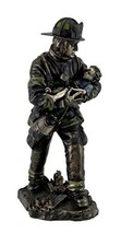 Resin Statues Firefighter Carrying Child Metallic Bronze Statue 11 Inche... - $79.21