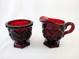 Avon Cape Cod Cranberry Red Glass Creamer and Sugar Set - $10.00