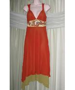 KAREN MILLEN ENGLAND Mahagony Orange Olive SILK Tiered Beaded Shell Dres... - $79.00