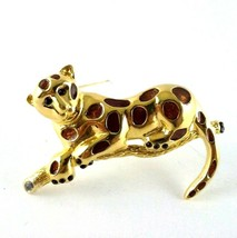 Leopard Cat Brooch marked RD with a Crown over it Gold Tone Vintage Large - $14.81