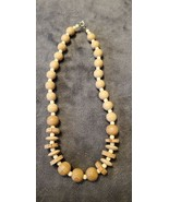 VINTAGE 80'S WOOD AND CORK BEIGE BEADED CHOKER NECKLACE - $25.00