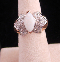Large Opal Ring / big setting / size 6 gold ring / October birthstone / ... - $185.00