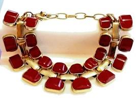 """Vintage Bracelet 9.5"""" Red Molded Acrylic Gold Plated Link Designer Runwa... - $21.45"""