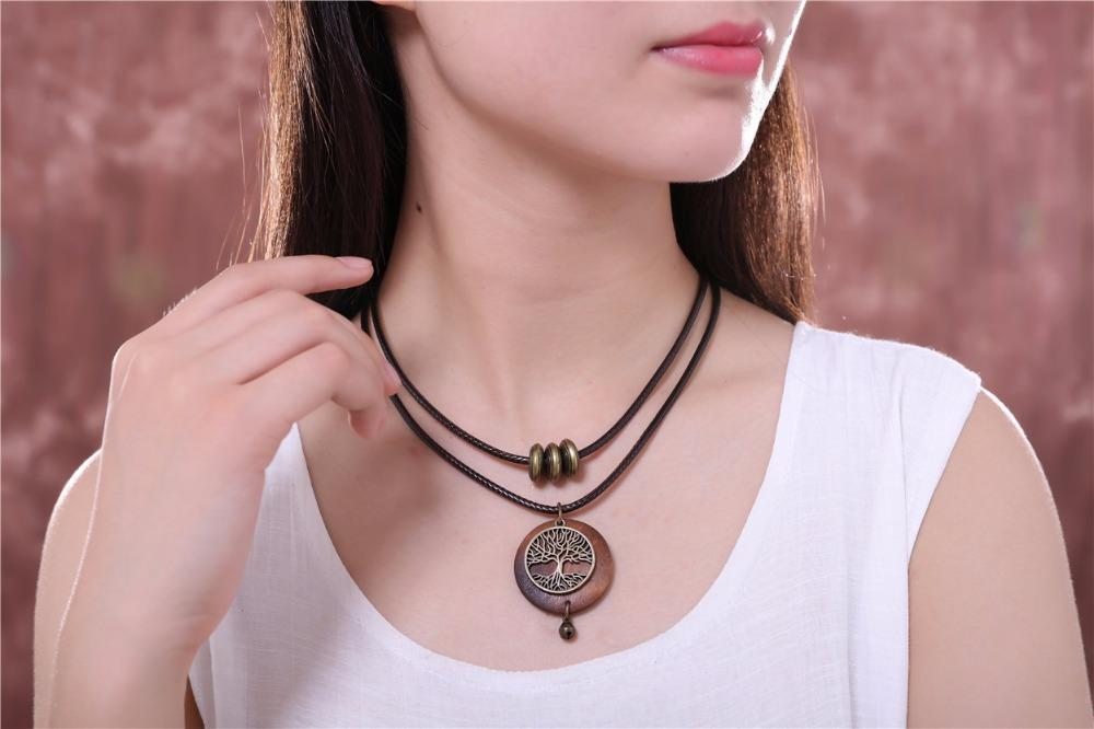 COOSTUFF Vintage Wooden Tree Of Life Handmade Necklace / Pendant - Ladies /Women