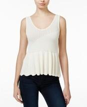 Rachel Rachel Roy Peplum Sweater Tank Top Cream Size X-Large - $37.84
