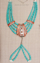 Vintage Native American Turquoise Heishi Ceremonial Necklace w/Spiny Oyster - $1,165.50
