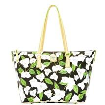 Dooney & Bourke Bougainvillea BLACK Floral Zip Shopper Tote PURSE Shoulder Bag - $149.93