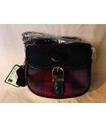 Vintage LUIGI Small Satchel Shoulder Bag Red & Green Tartan Plaid Leathe... - $45.00