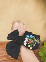 Embroidered Ribbon Hair Tie - Black Linen Turban with Embroidered Textures - $15.00