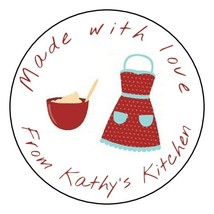 12 Personalized baked made with love stickers baking labels tags food ki... - $8.99
