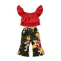 kids girls off shoulder tops floral pants clothes - $12.44+