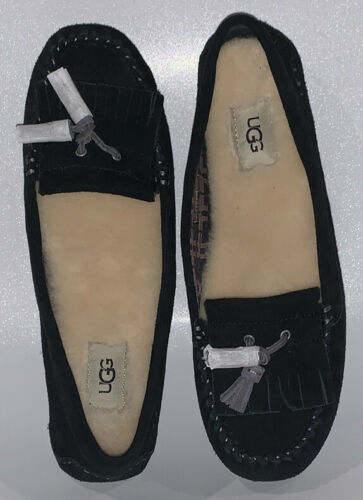 Primary image for New In Box UGG Lizzy Black Suede Womens Slippers Wool Lining Women's Size 11