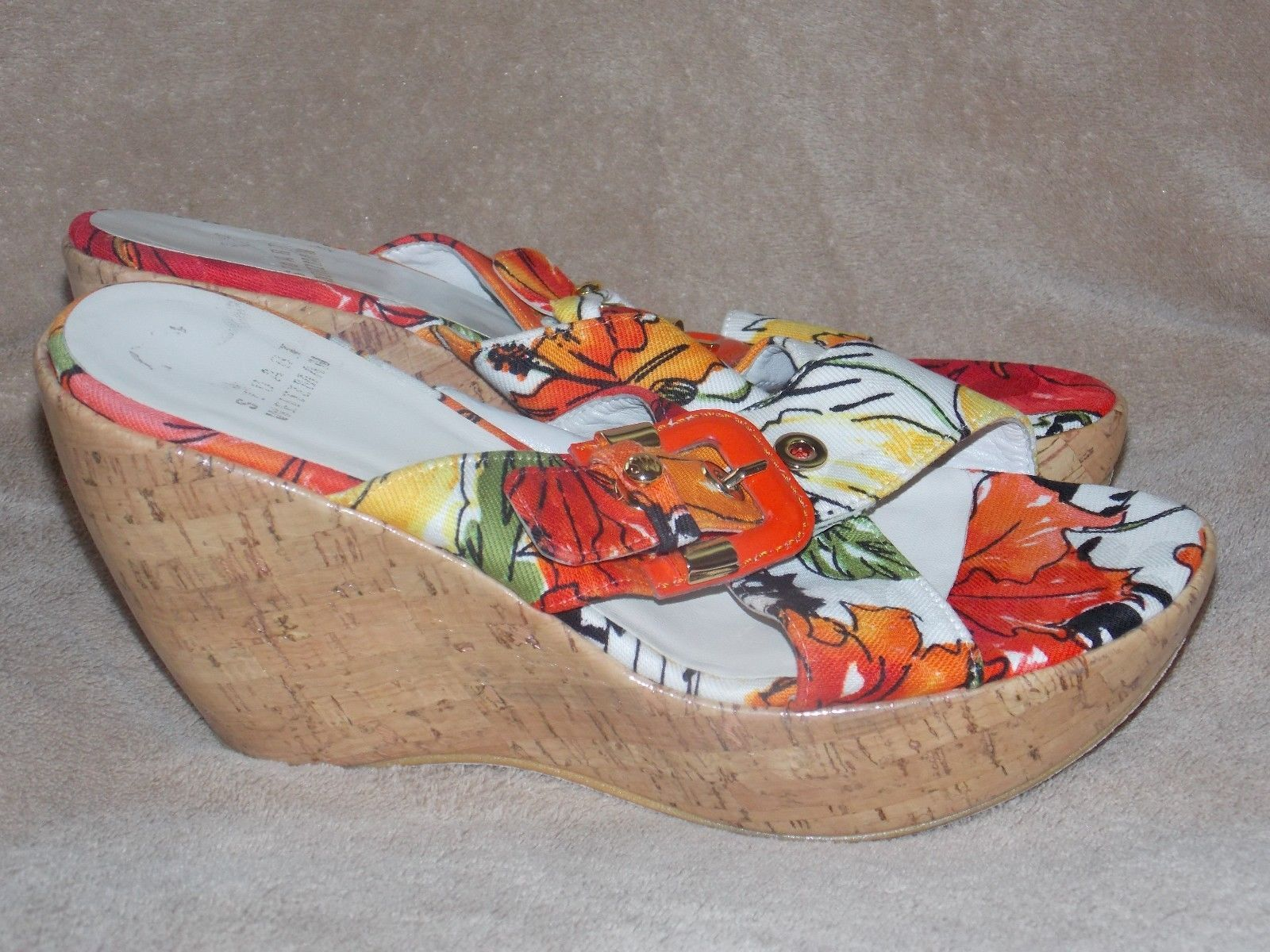 Stuart Weitzman Multi Color FLORAL Gold Buckle Wedges 7M Used No Box