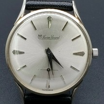 VINTAGE  LUCIEN PICCARD WATCH 14KT WHITE GOLD, LEATHER STRAP 1960-1969 - $623.04